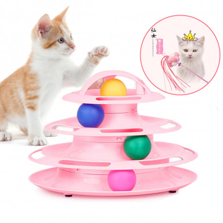 Bestio Cat Toys with 4 Level Towers Tracks Roller-Blue